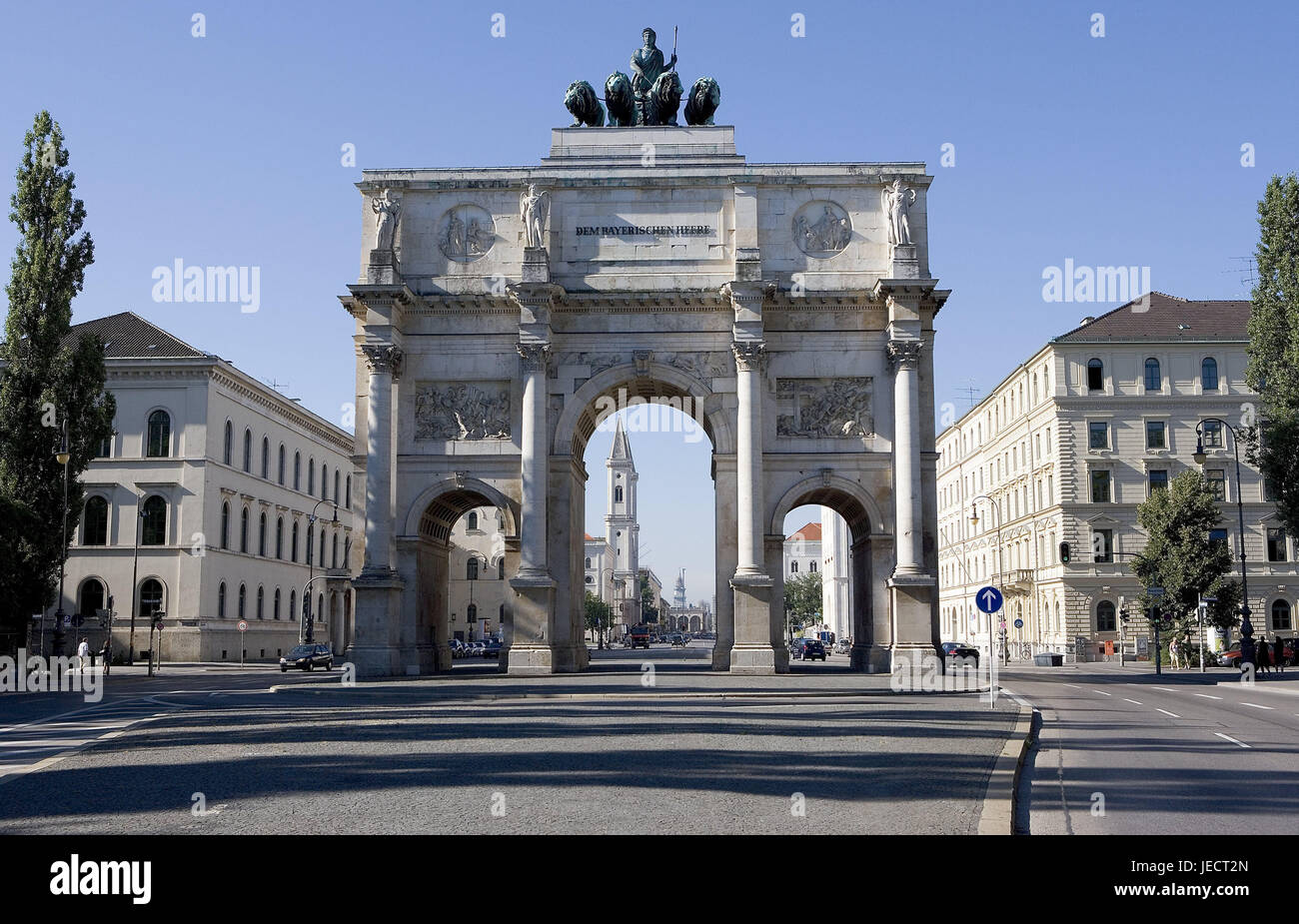 Germany, Bavaria, Munich, victory gate, South Germany, Upper Bavaria, gate, goal building, structure, building, - Stock Image