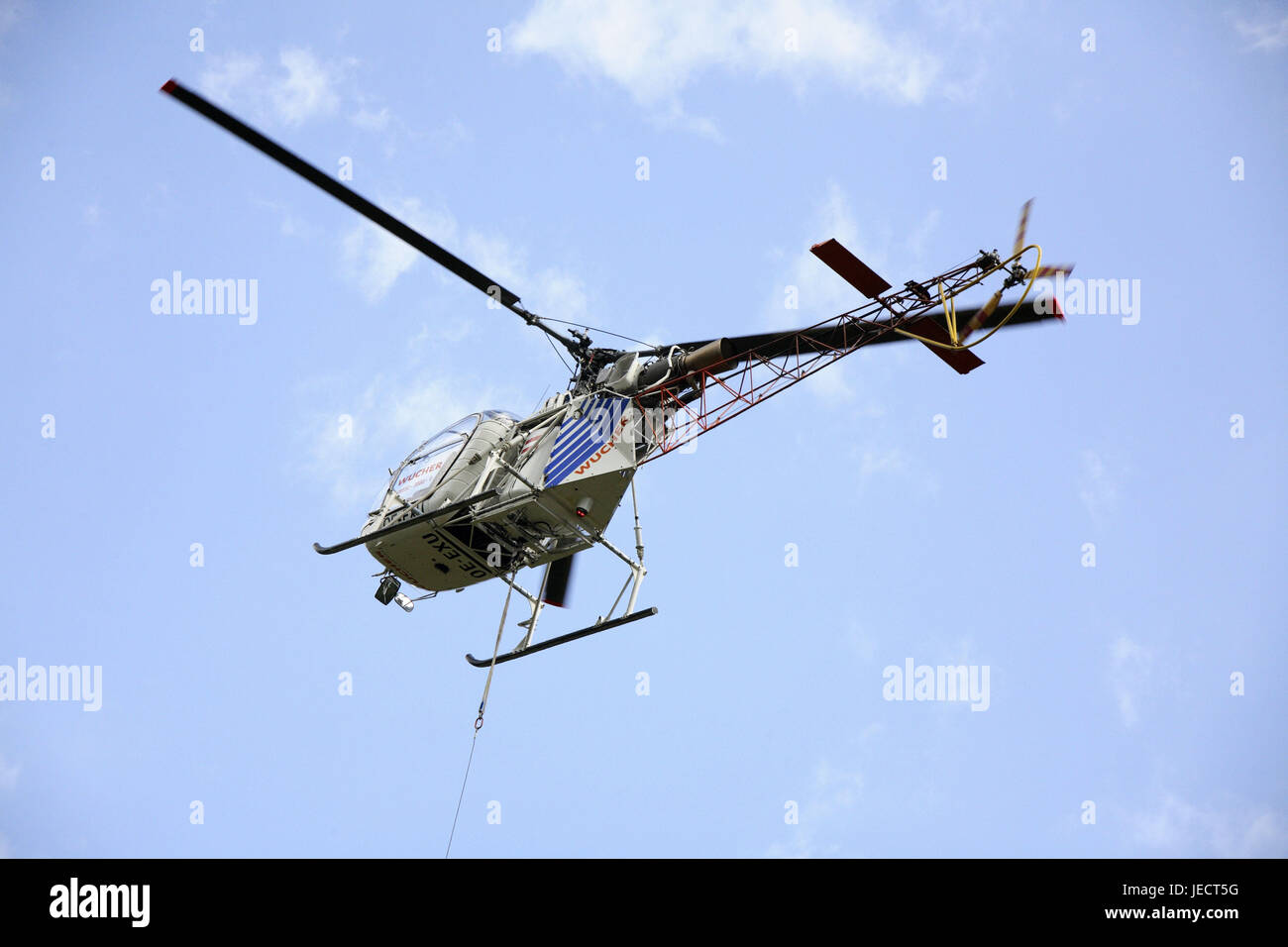 Cloudy skies, costs helicopters, from below, helicopter, helicopter, fly, helicopter flight, costs, transport, transport - Stock Image