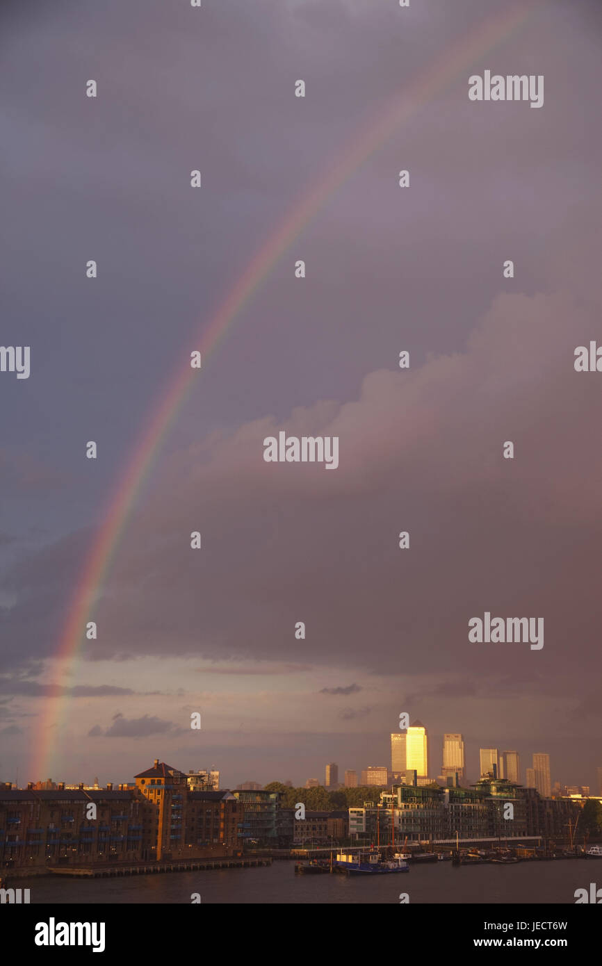 England, London, of dock country, dock country skyline, the Thames, rainbow, town, architecture, building, skyline, - Stock Image