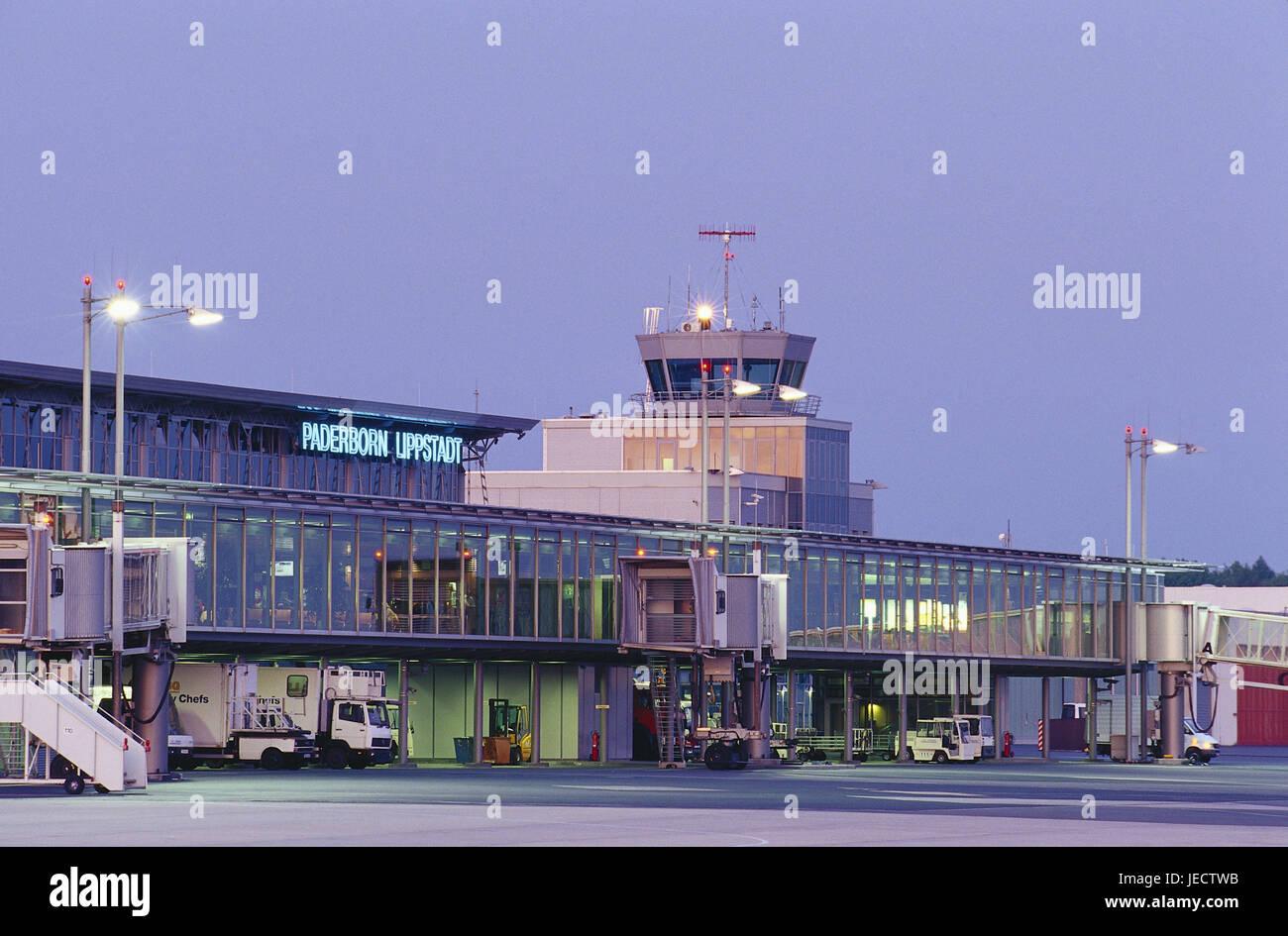 Germany, North Rhine-Westphalia, Paderborn-Lippstadt, airport, dusk, Teutoburger wood, Paderborn, Lippstadt, air - Stock Image