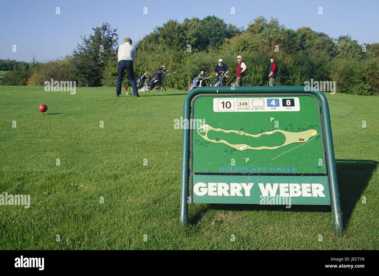 Germany, North Rhine-Westphalia, Halle, golf club of Teutoburger wood, plan of site, golfer, Westphalian, sport, - Stock Image