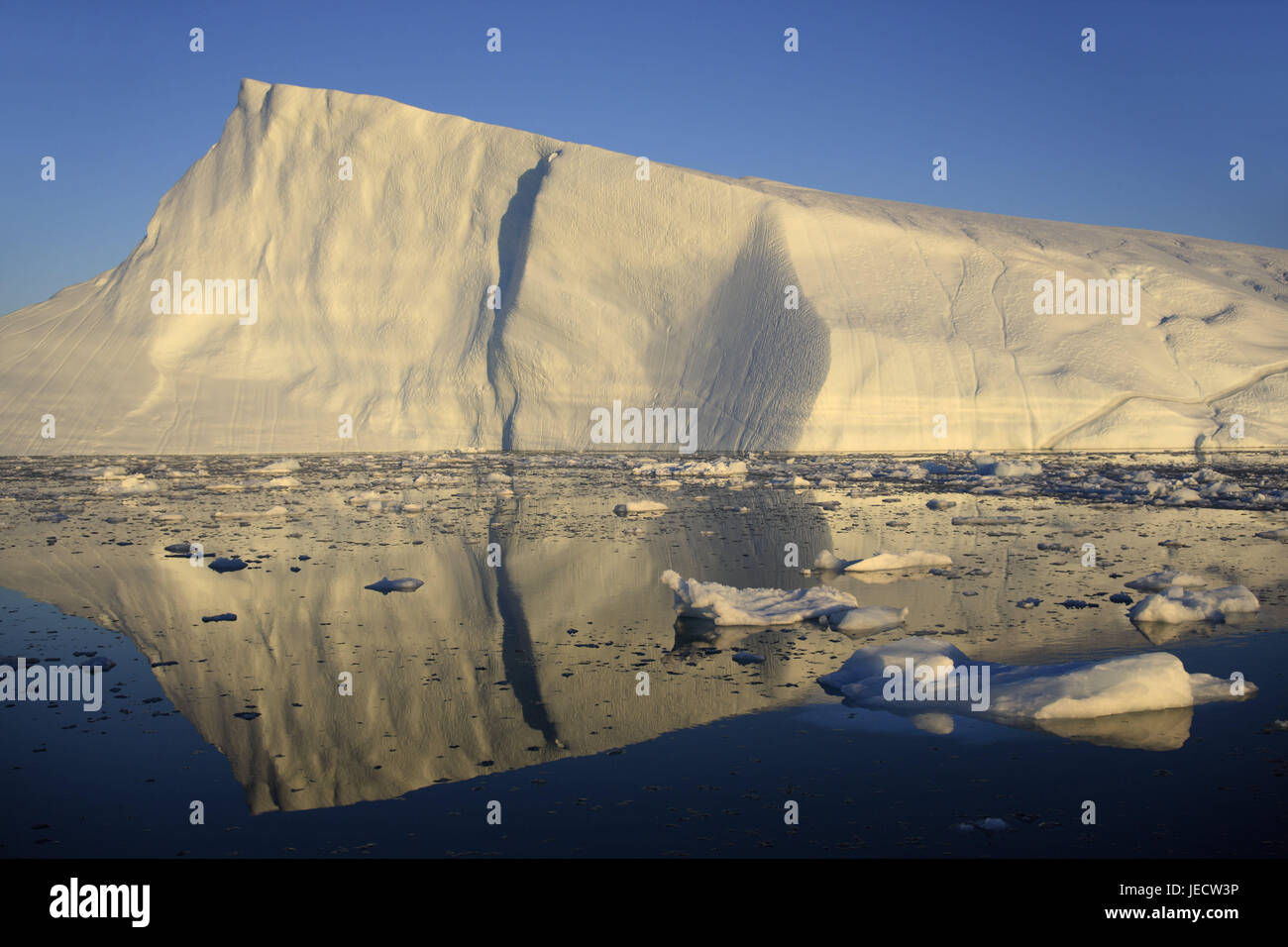 Greenland, Disco Bay, Ilulissat, fjord, icebergs, detail, Western Greenland, ice, glacier, the Arctic, summer, mirroring, Stock Photo