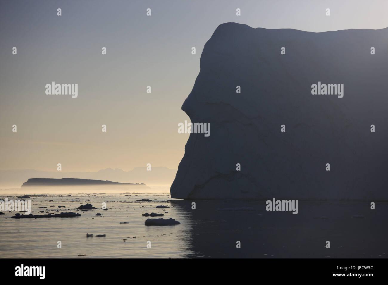 Greenland, Disco Bay, Ilulissat, fjord, icebergs, scarp, detail, Western Greenland, ice, glacier, the Arctic, summer, - Stock Image
