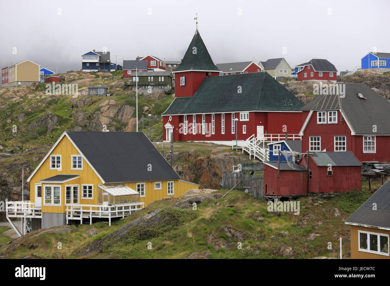 Greenland, Sisimiut, town view, houses, church, Western Greenland, town, destination, place of interest, outside, Stock Photo