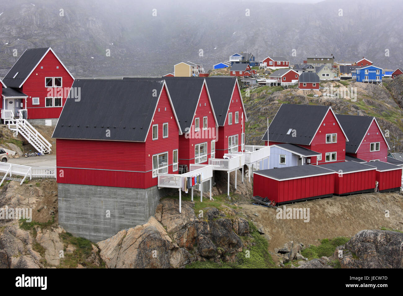 Greenland, Sisimiut, town view, timber houses, Western Greenland, town, destination, building, architecture, houses, - Stock Image