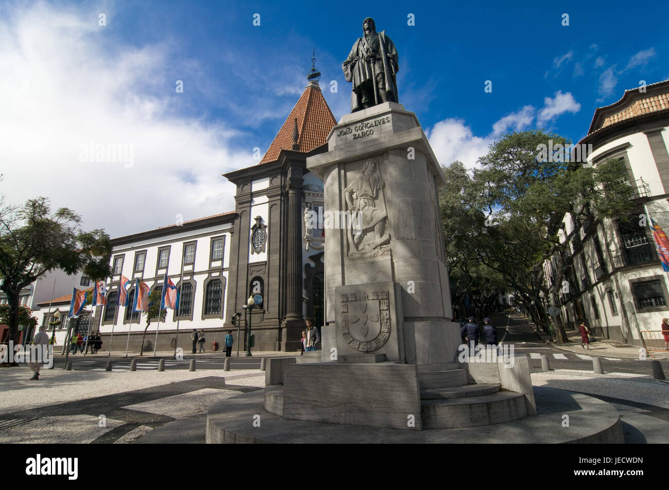 Statue of the discoverer Zarco, Funchal, Madeira, - Stock Image