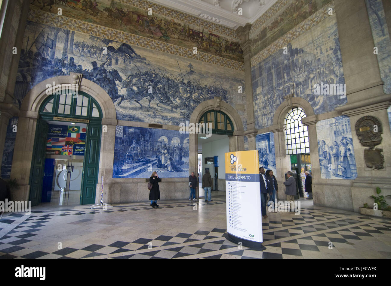 Azulejos, story on tiles painted in the railway station Sao Bento, postage, Portugal, - Stock Image