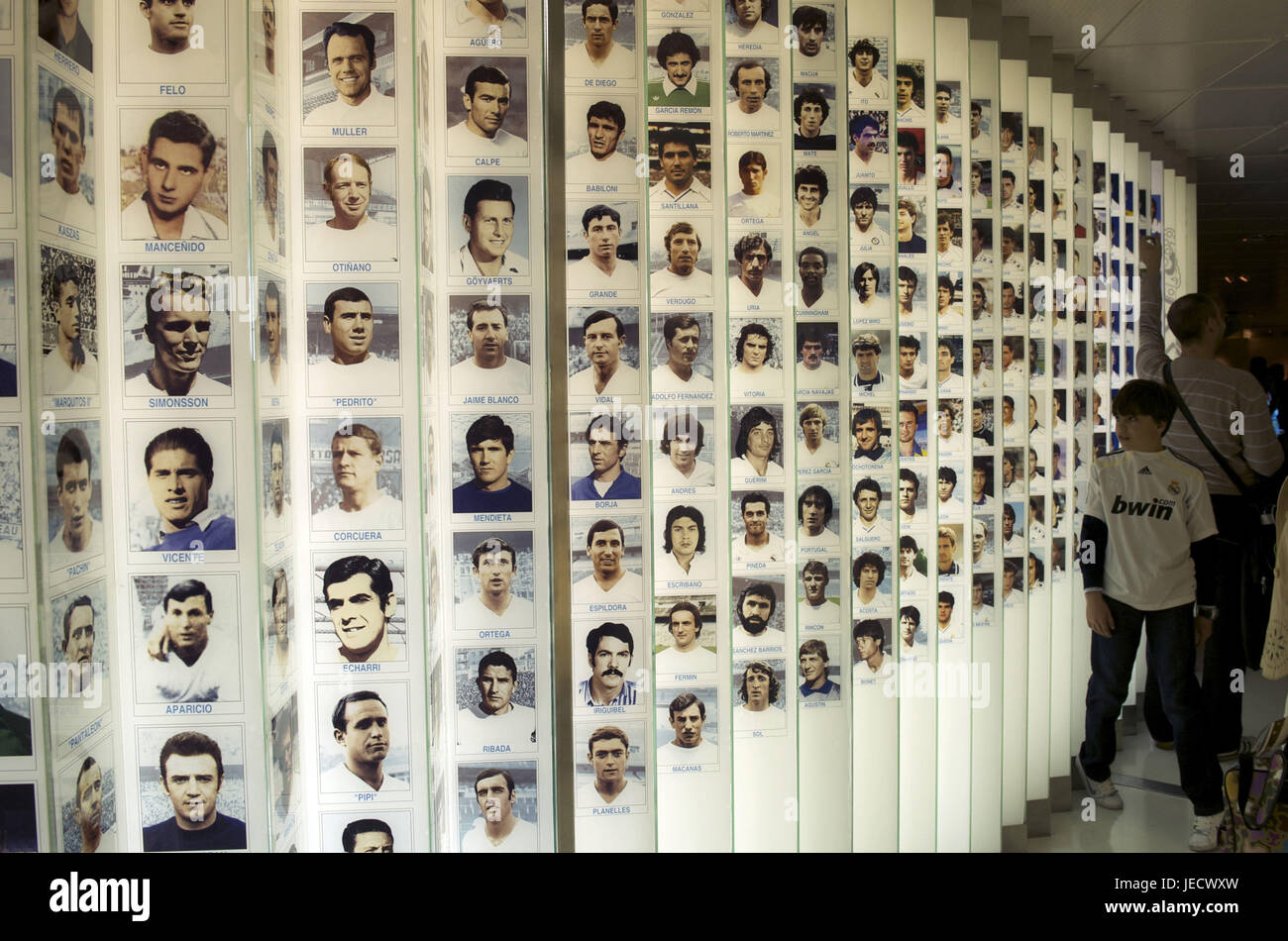 Spain, Madrid, Santiago Bernabeu stadium, Real Madrid museum, photo wall, - Stock Image