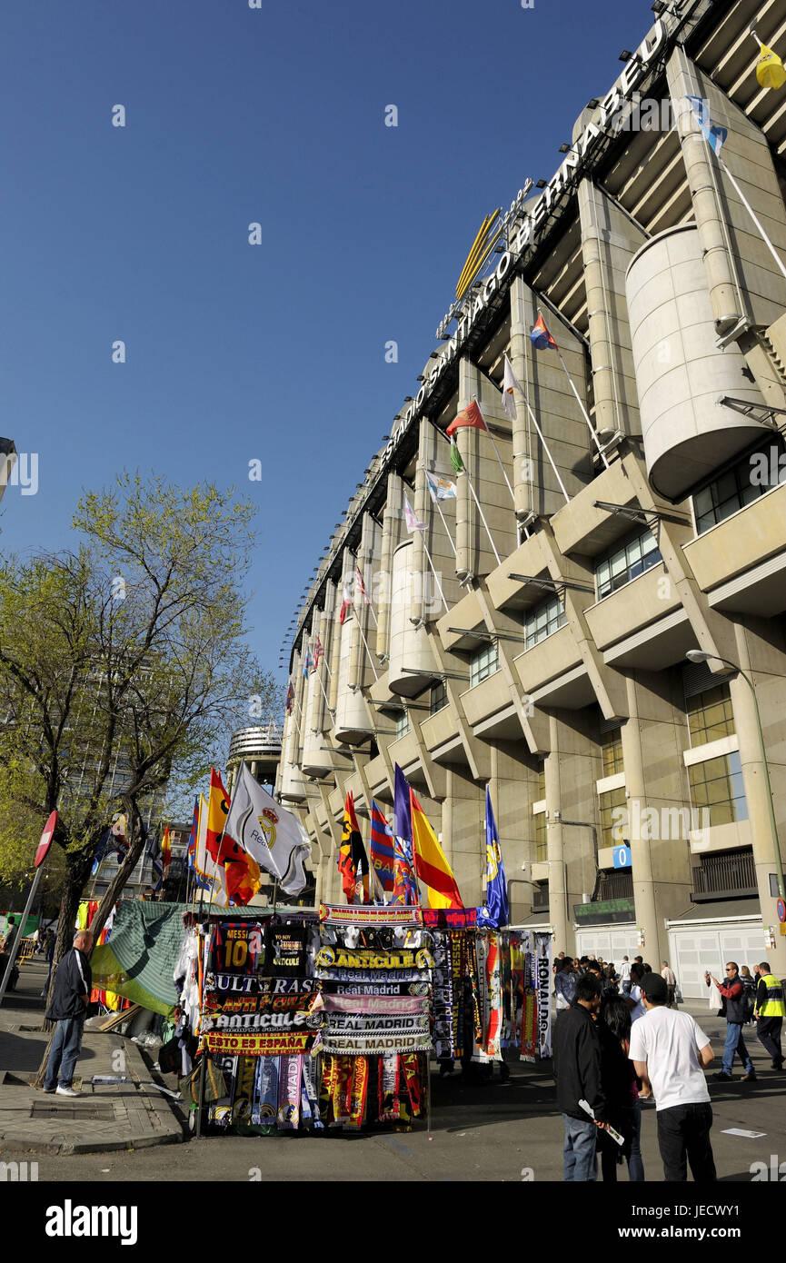 Spain, Madrid, Santiago Bernabeu stadium, fan article, - Stock Image