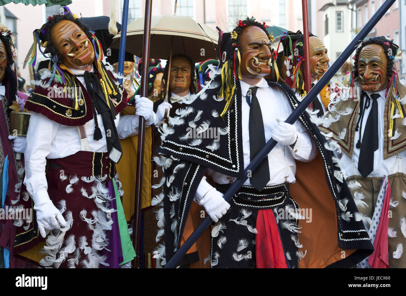 Germany, Baden-Wurttemberg, Rottweil, Rottweiler fool's guild, several Federahannes make nonsense, - Stock Image