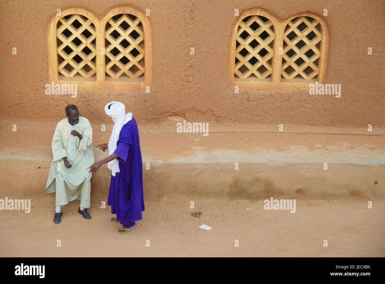 Africa, Niger, Agadez, men before a mosque, Stock Photo