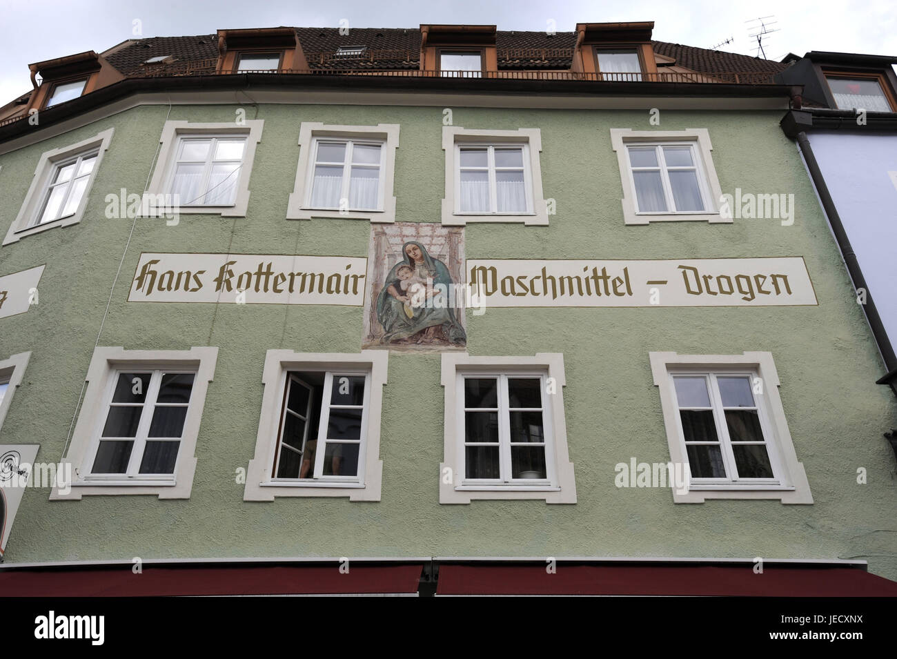 Germany, Bavaria, to feet, city centre, house facade, historically, saint's picture, label, detergent - drugs, Stock Photo