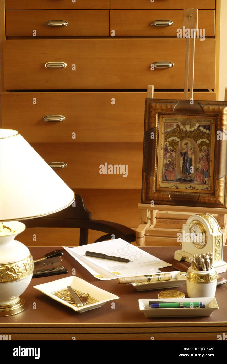 Study desk, elegantly, desk, drawers, woodwork, desk lamp, lamp, lighting, porcelain clock, fountain pen, stapler, Stock Photo