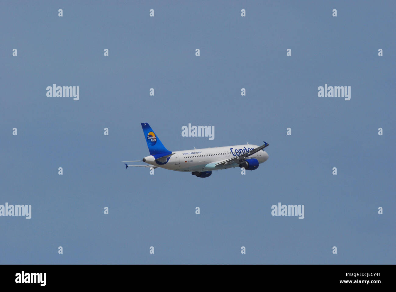 Air liner, airbus A320, flight, no property release, civil aviation, airplane, traffic airplane, standard body airplane, - Stock Image