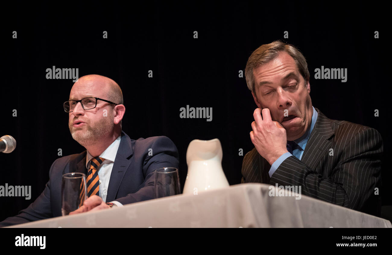 Victoria Hall, Bagnall St, Hanley, Stoke-on-Trent, ST1 3AD, UK. 6th February 2017. Paul Nuttall and Nigel Farage Stock Photo
