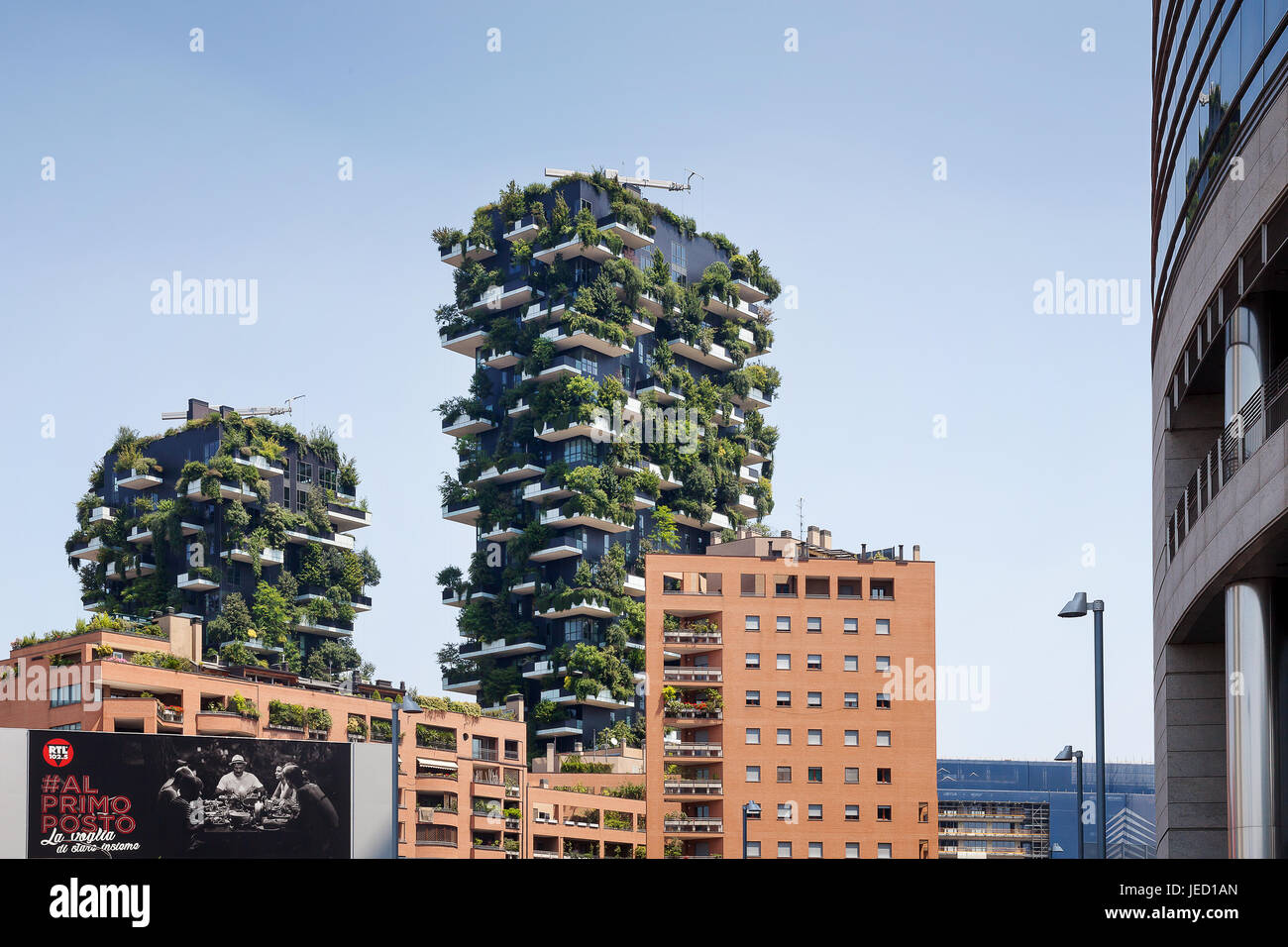 Rome, Italy - June 11, 2017: The famous Vertical Wood seen from Viale Luigi Sturzo. Sustainable residential building - Stock Image