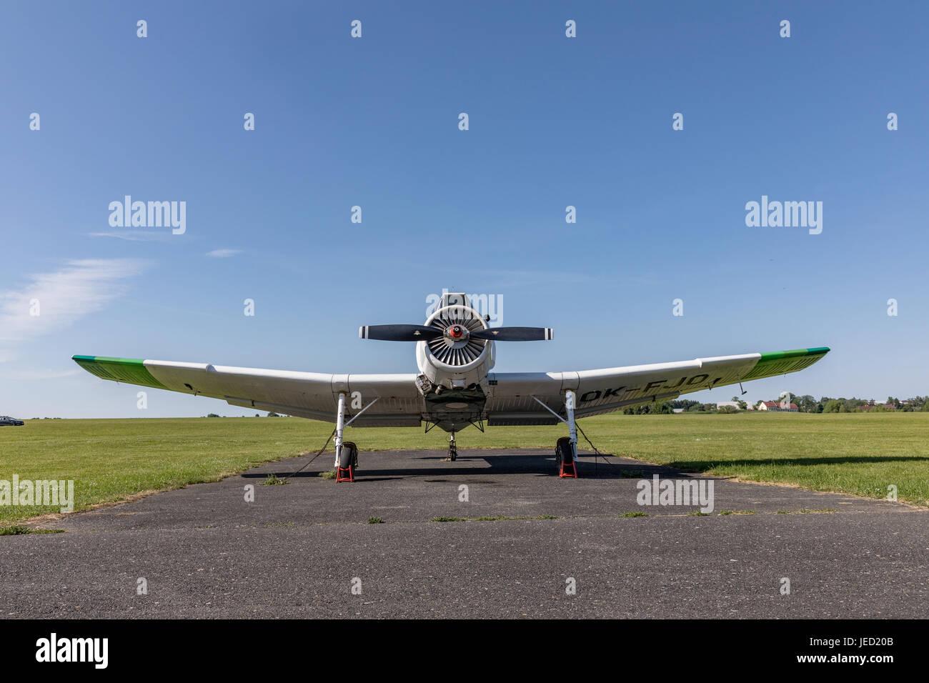 Zbraslavice, Czech Republic - May 29, 2017. Zlin Z-37 Cmelak - Czech agricultural aircraft park on the grassy airport - Stock Image