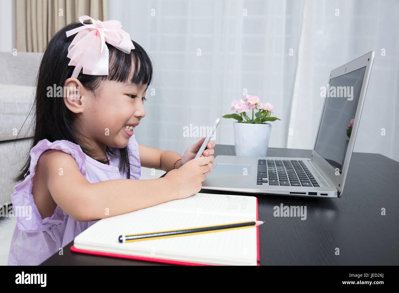 Asian girls busy