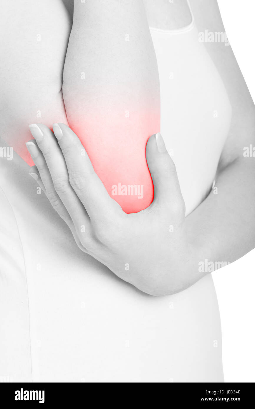 Woman holding elbow in pain isolated on white, clipping path - Stock Image