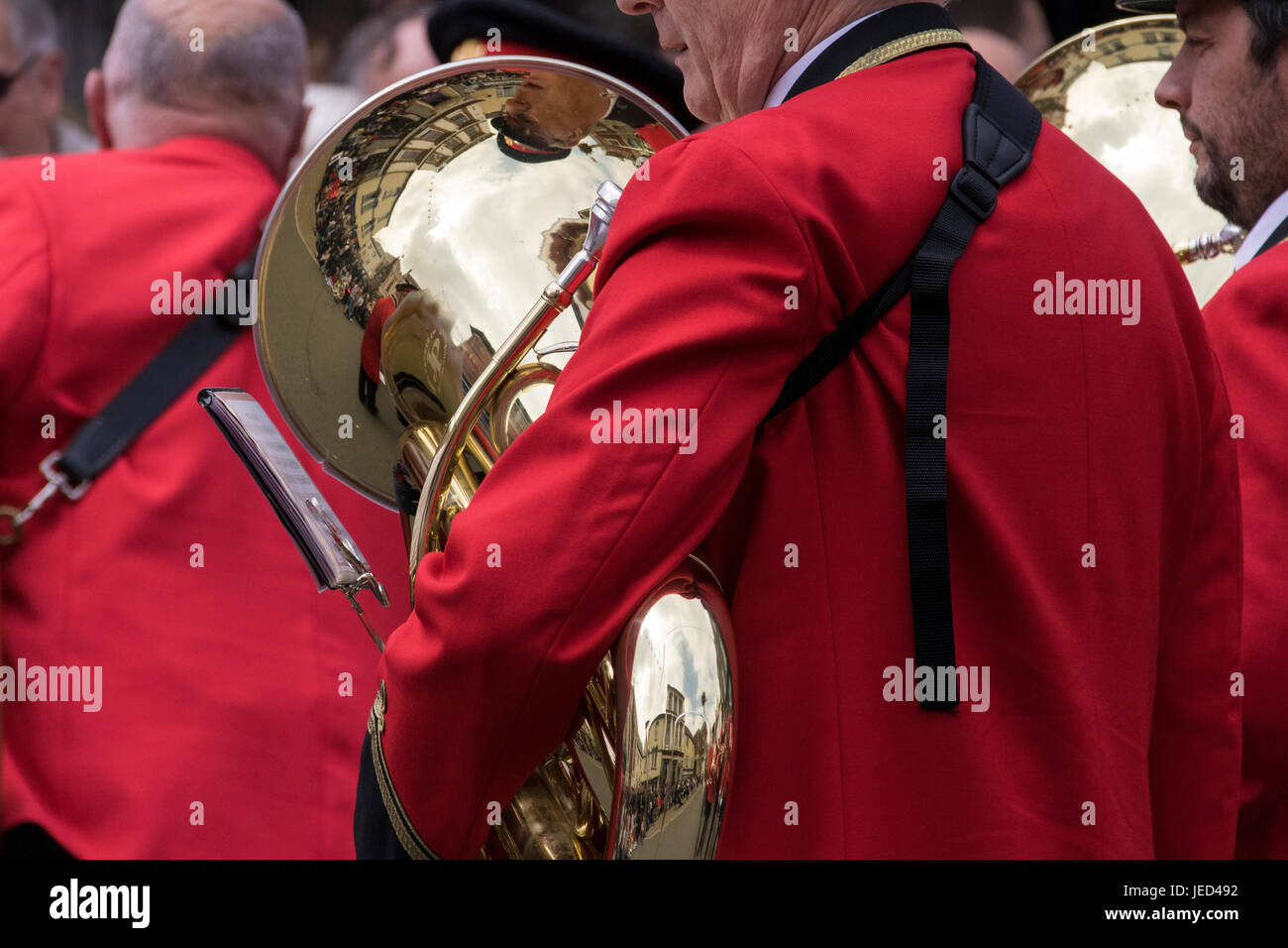 Tuba Reflections - Reflections of the Torrington Mayfair Celebrations in a Well Polished Tuba of the Torrington - Stock Image