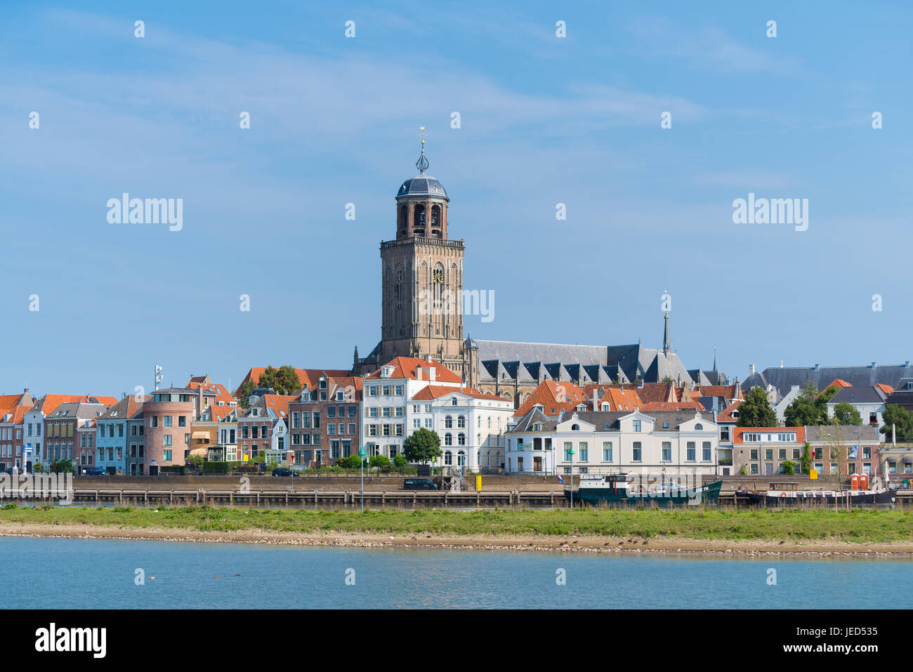 view on the medieval dutch city of Deventer with the Lebuinus church in the center Stock Photo
