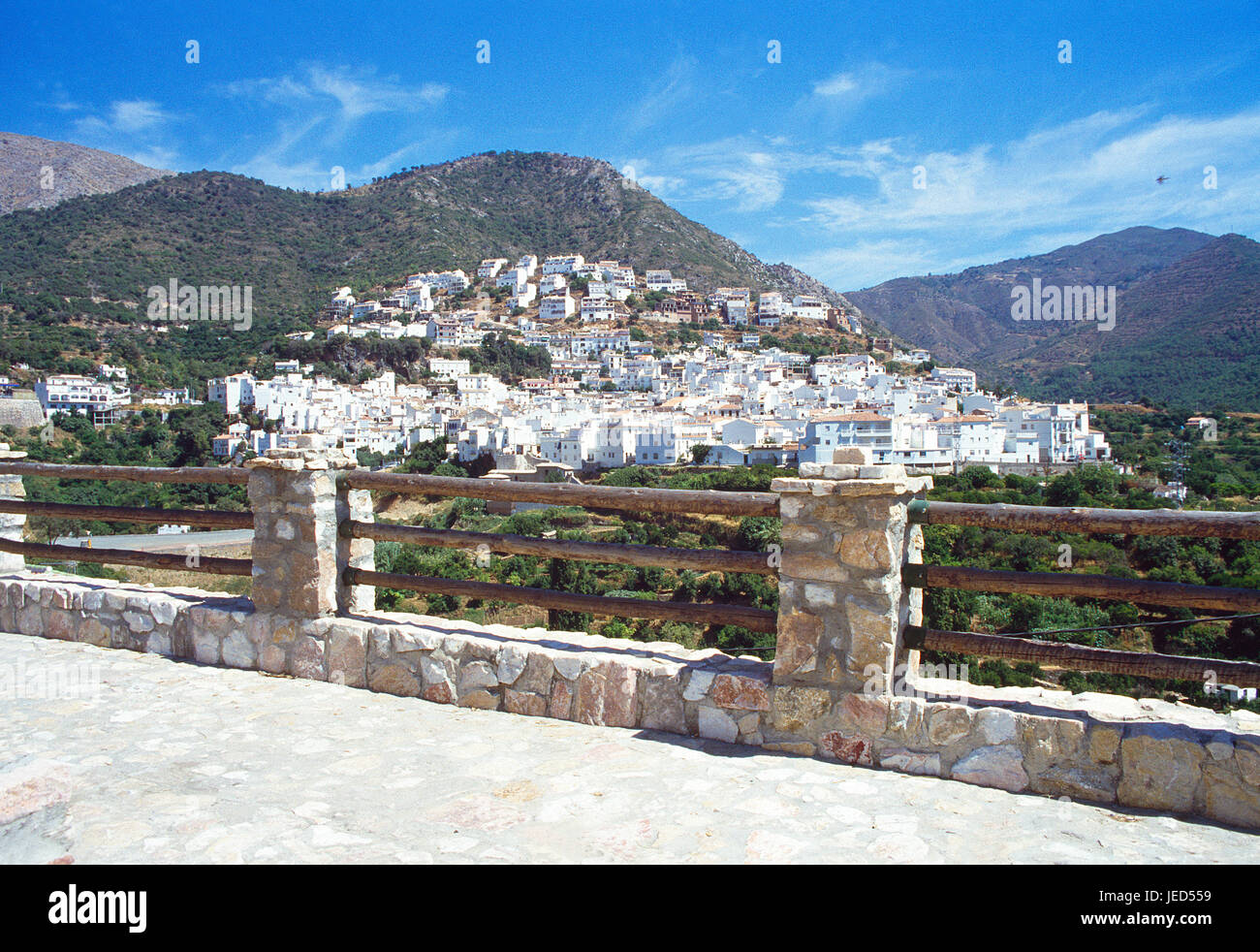 Viewpoint over the village. Ojen, Malaga province, Andalucia, Spain. - Stock Image