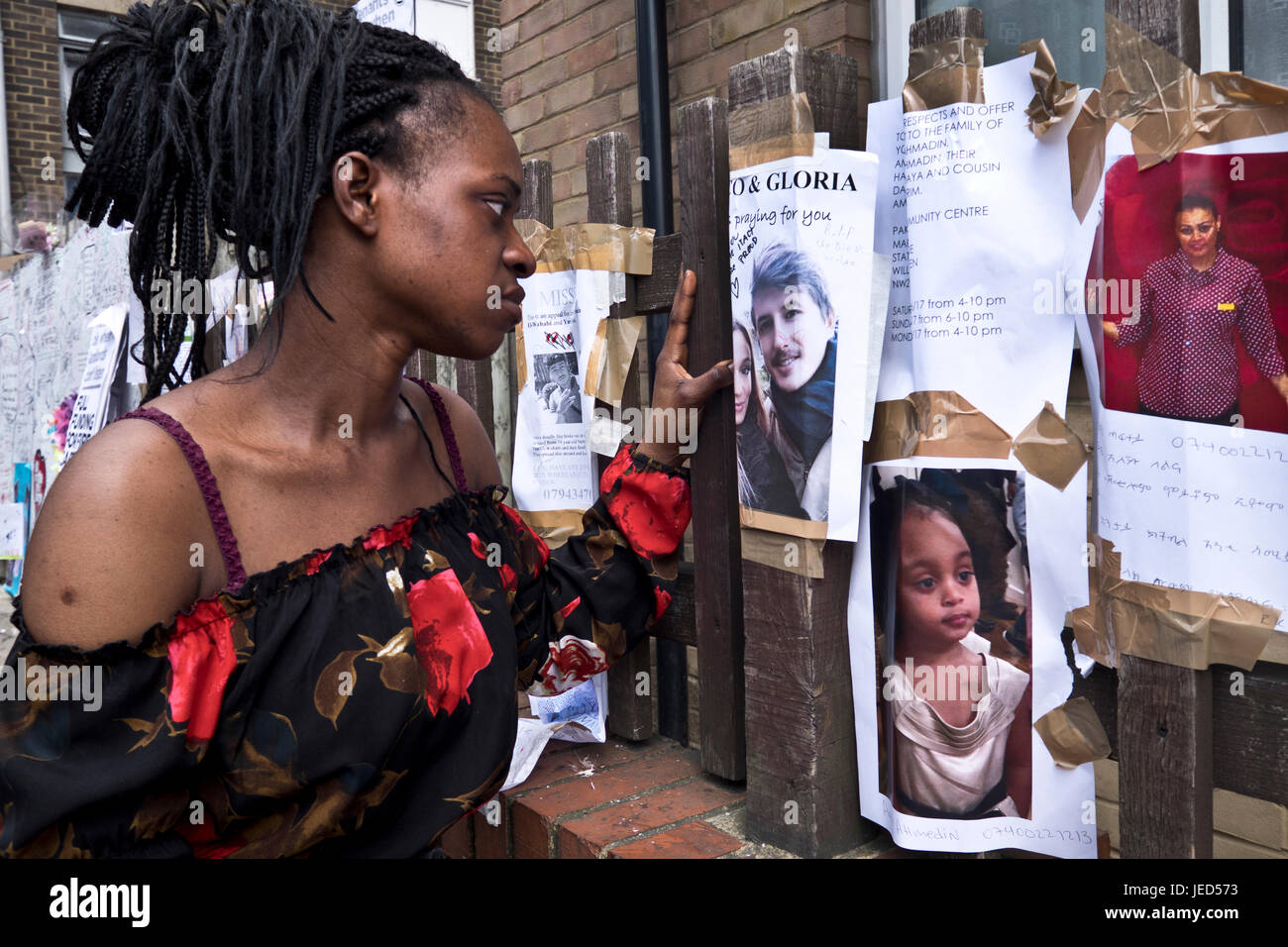 Dami went to school with and knew many of those missing/dead in the fire that destroyed the 24-story Grenfell Tower - Stock Image