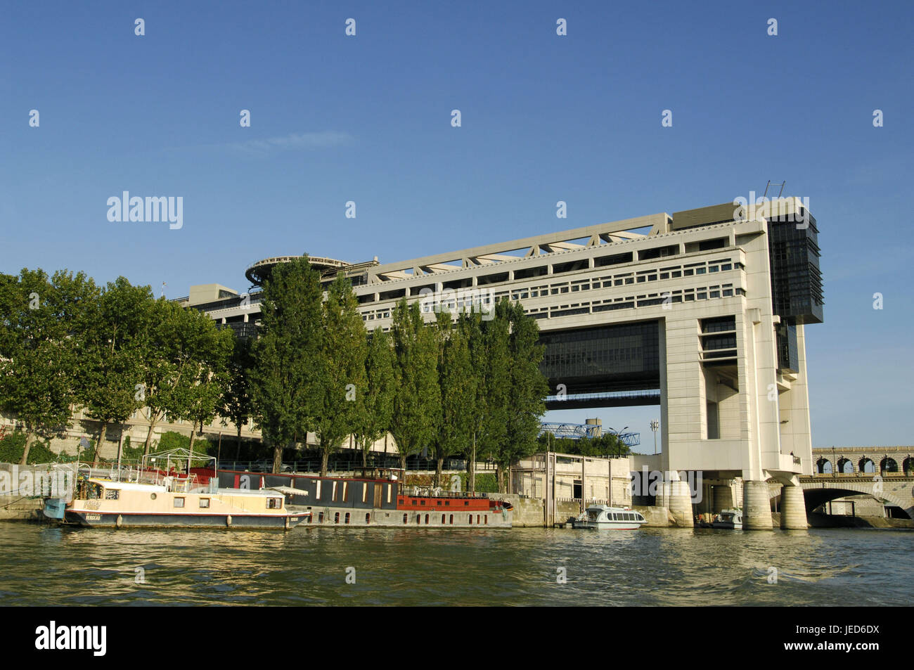 France, Paris, Bercy, economics ministry and Ministry of Finance, flux his, ships, - Stock Image