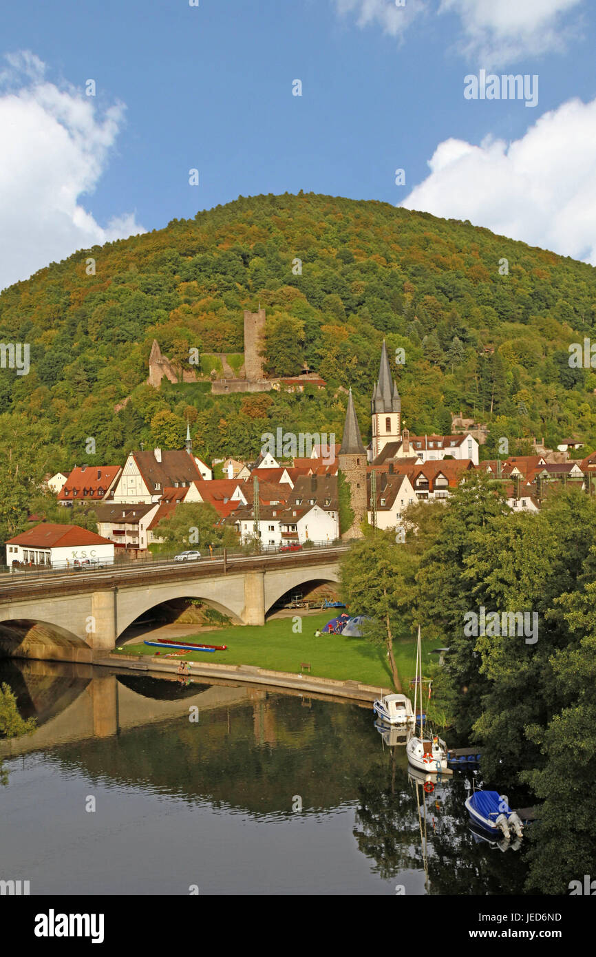 Germany, Bavaria, Gemünden at the Main, scissors castle, parish church piece Peter and Paul, local view, place, - Stock Image