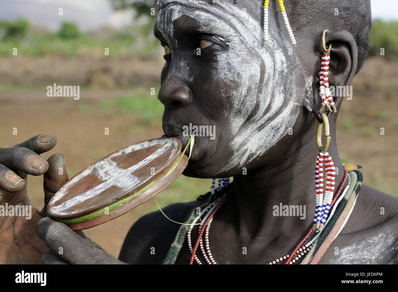 Woman, tribe Mursi, lip plate, Mago national park, southern Omotal, south Ethiopia, - Stock Image