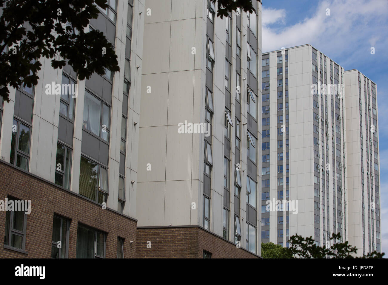 London, UK. 23rd June, 2017. Cladding panels on Taplow and Burnham Towers on the Chalcots Estate in Camden. 600 - Stock Image