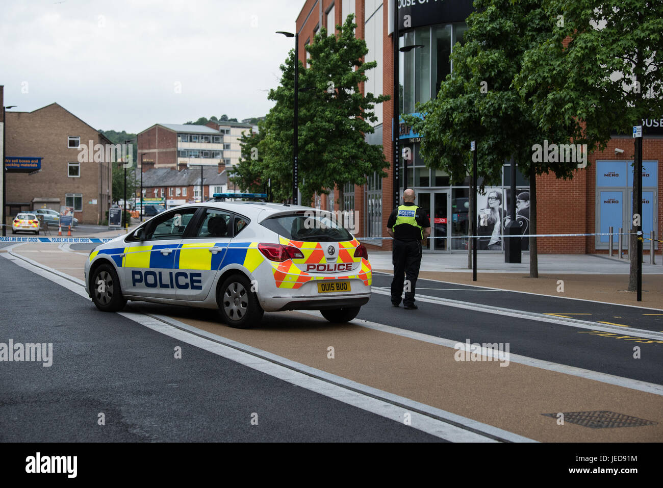 High Wycombe, UK. 23rd June, 2017. Two males have been stabbed in High Wycombe, there are two cordons in Place one - Stock Image