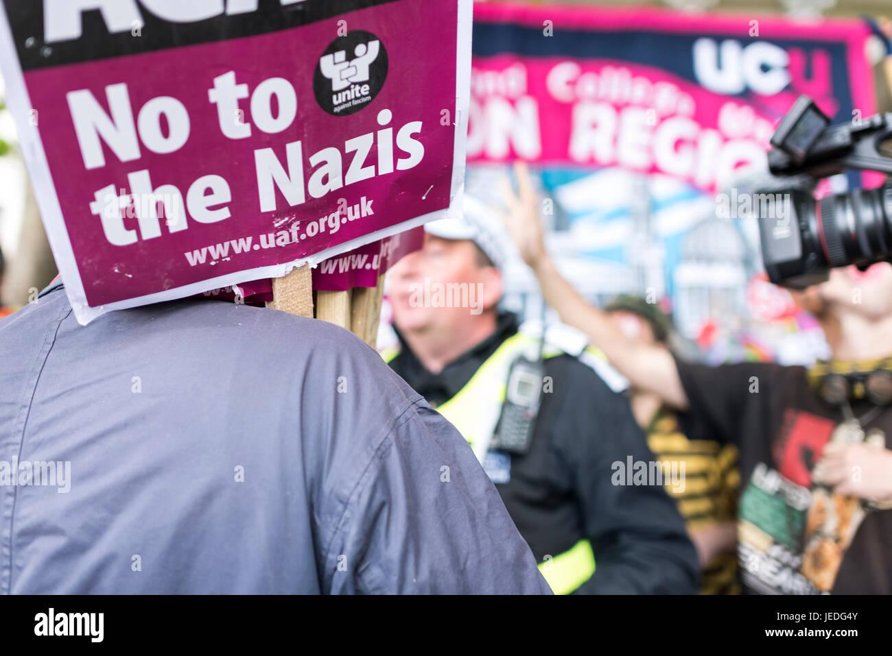 London, UK, 24th June 2017. Unite Against Fascism (UAF) has organized a demonstration near Trafalgar Square against - Stock Image