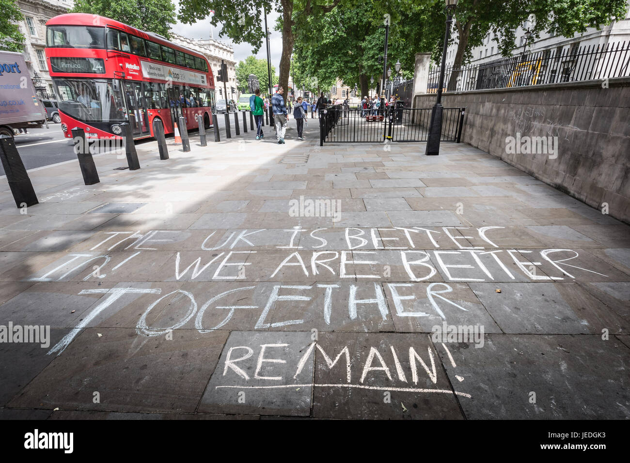 London, UK. 24th June, 2017. Pro-Remain/Anti-Brexit chalking message is chalked on the pavement opposite Downing - Stock Image