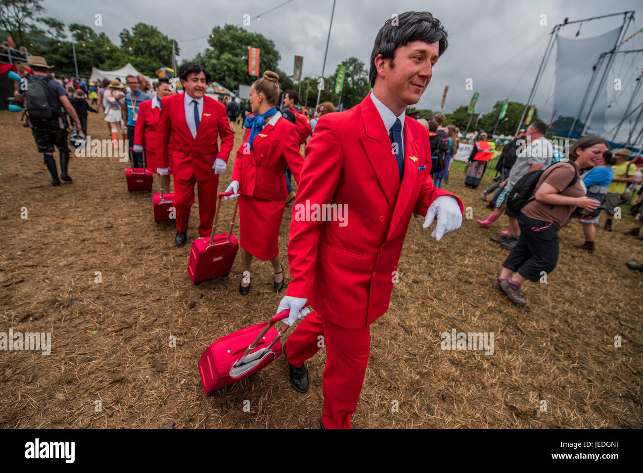 Glastonbury, Somerset, UK. 24th June, 2017. Air steward masseurs one of the Many weird activities in teh circus Stock Photo