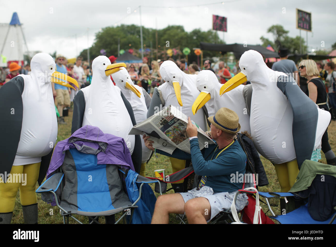 a69a399ad3 Festival goers in fancy dress on Day 2 (Saturday) of the 2017 Glastonbury  Festival at Worthy Farm in Somerset. Photo date  Saturday