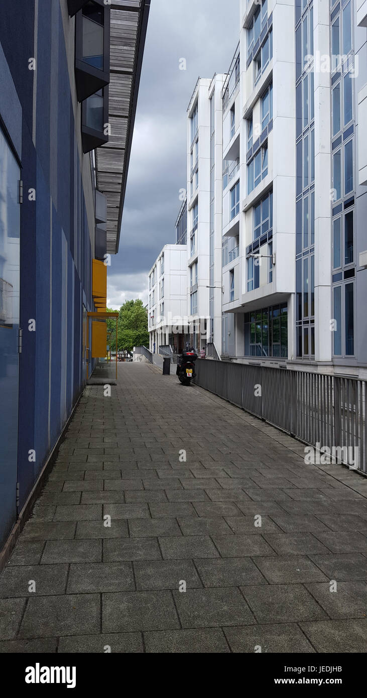 London, UK. 24th June, 2017. Camden flats at rear of the leisure centre being used to house residents evacuated Stock Photo