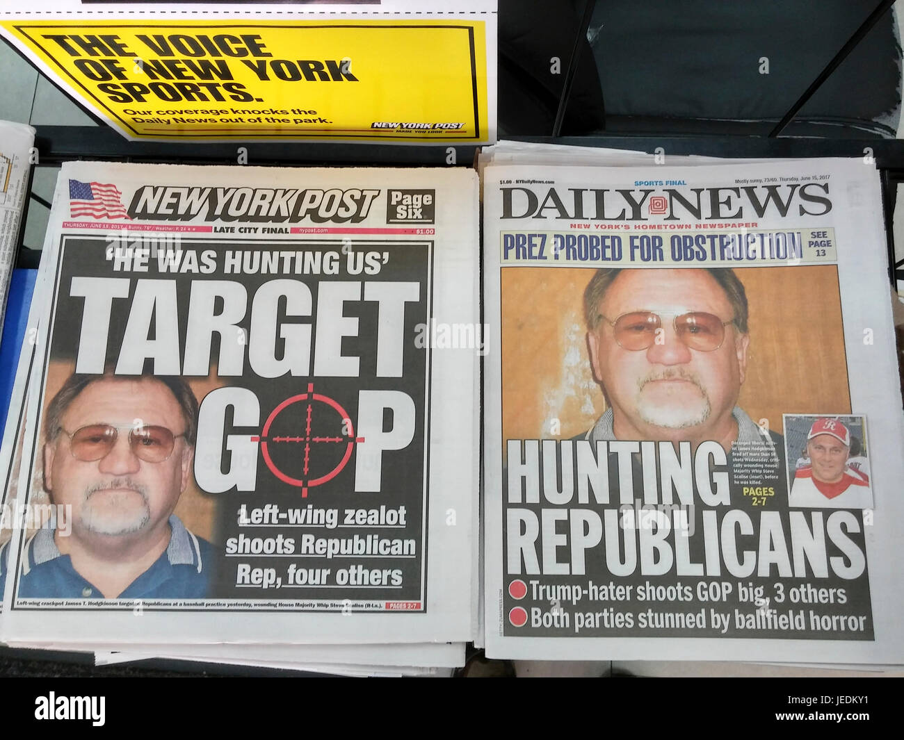 New York tabloid newspapers use the same mugshot of James Hodgkinson on Thursday, June 15, 2017, killed by police Stock Photo