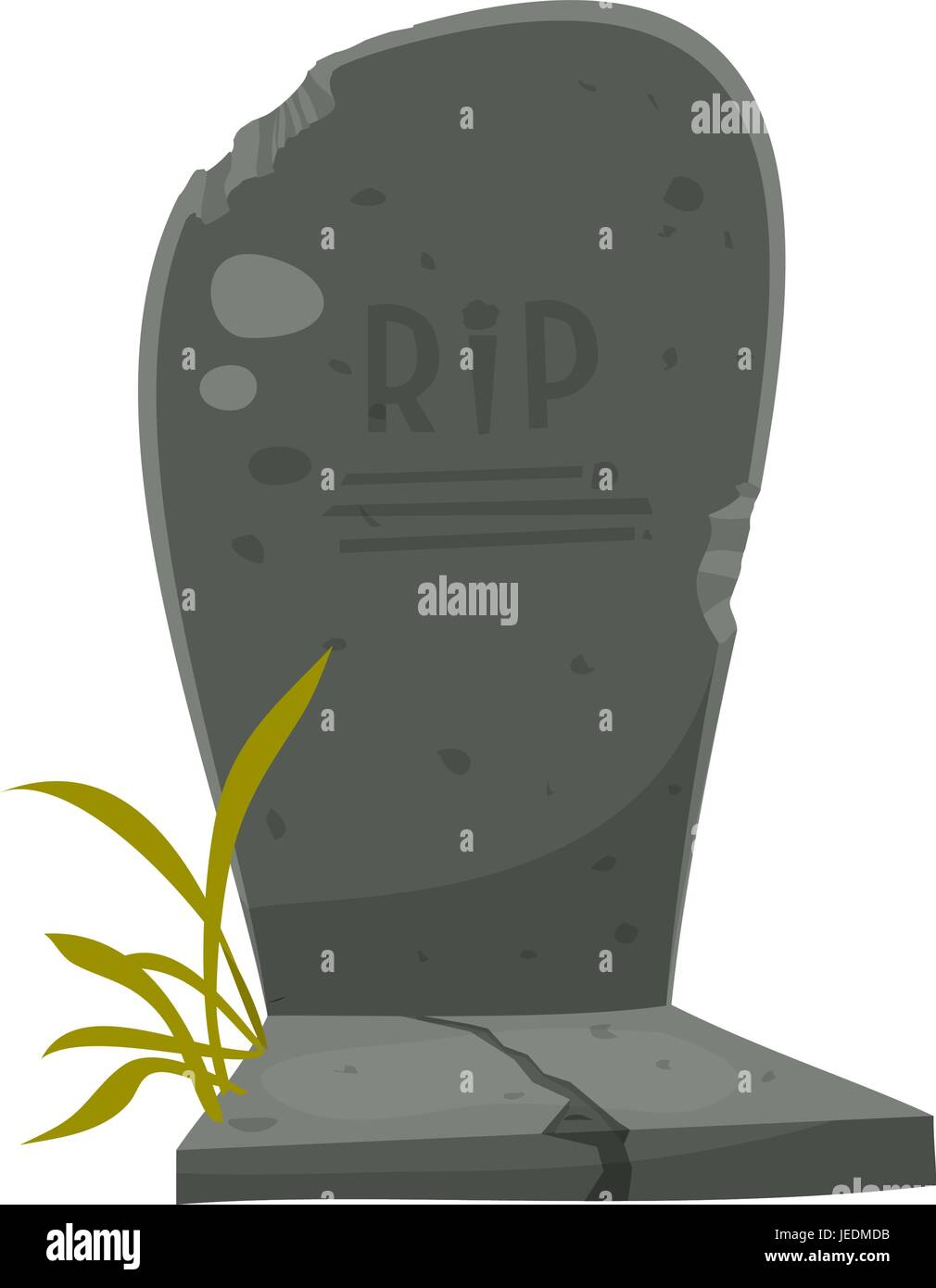 Cartoon Tombstone With RIP Illustration of a funny cartoon halloween tombstone for graveyard landscape with rest - Stock Vector