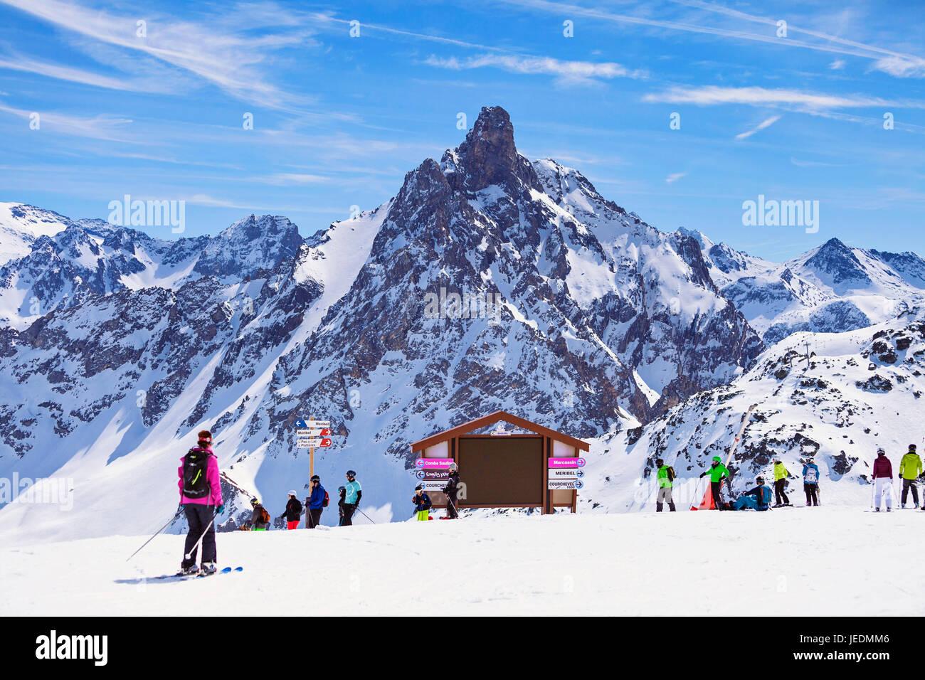 Sommet de Saulire, Meribel, Three Valleys - Stock Image