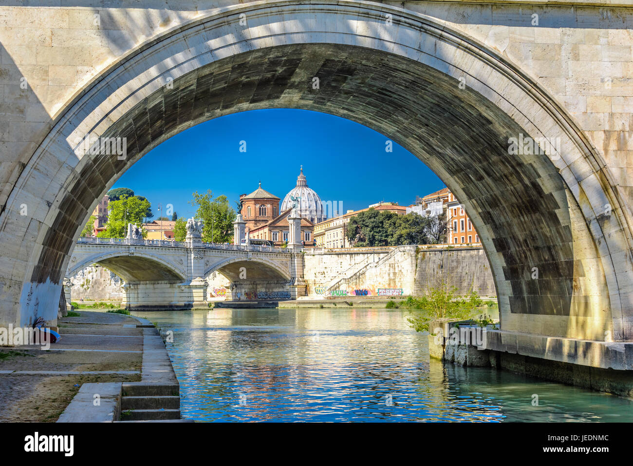 View of the Vatican with bridges over the Tiber river, Rome, Italy - Stock Image