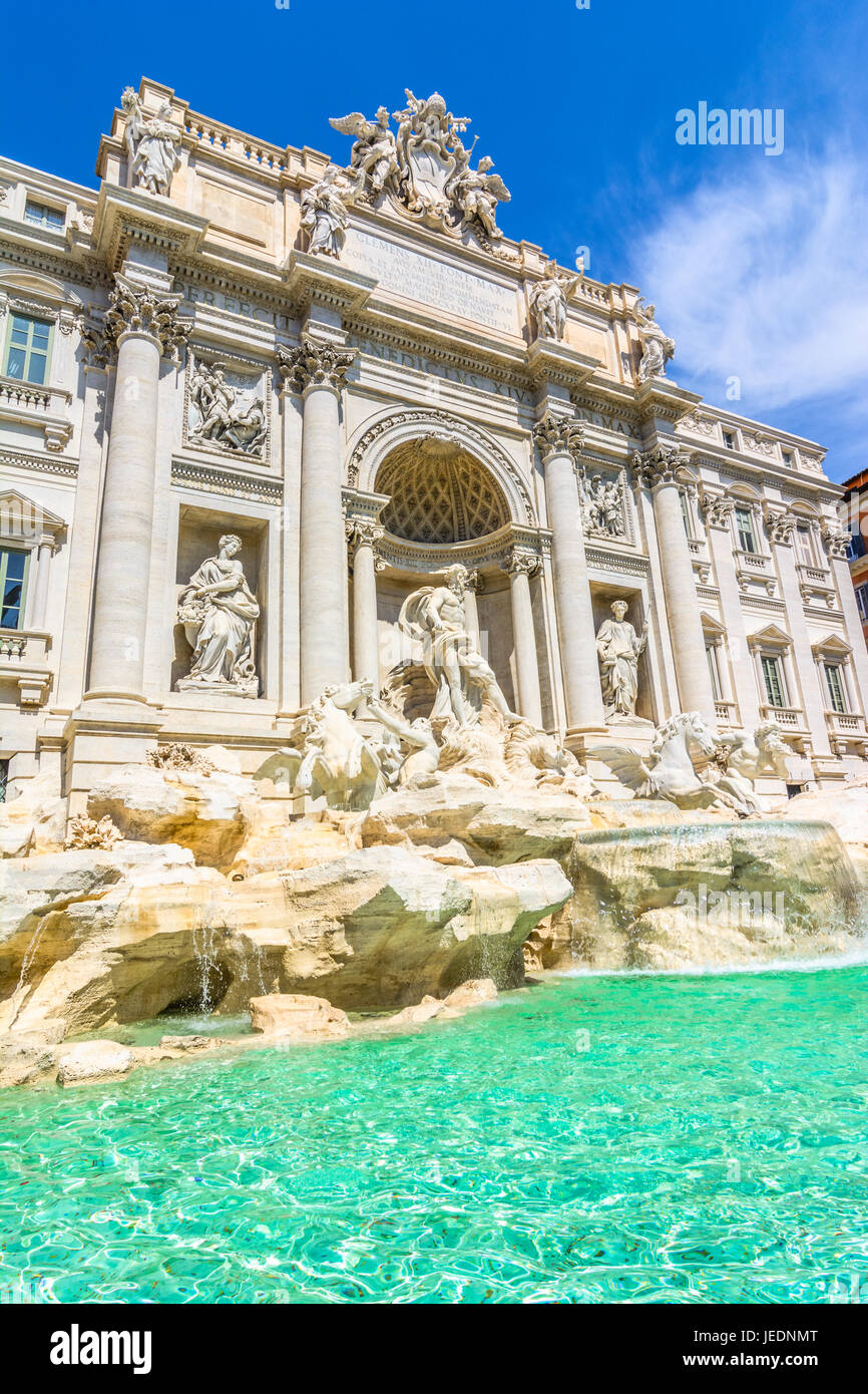 The Trevi Fountain ,Fontana di Trevi, is a fountain in the Trevi rione in Rome, Italy. Standing 25.9 meters high - Stock Image