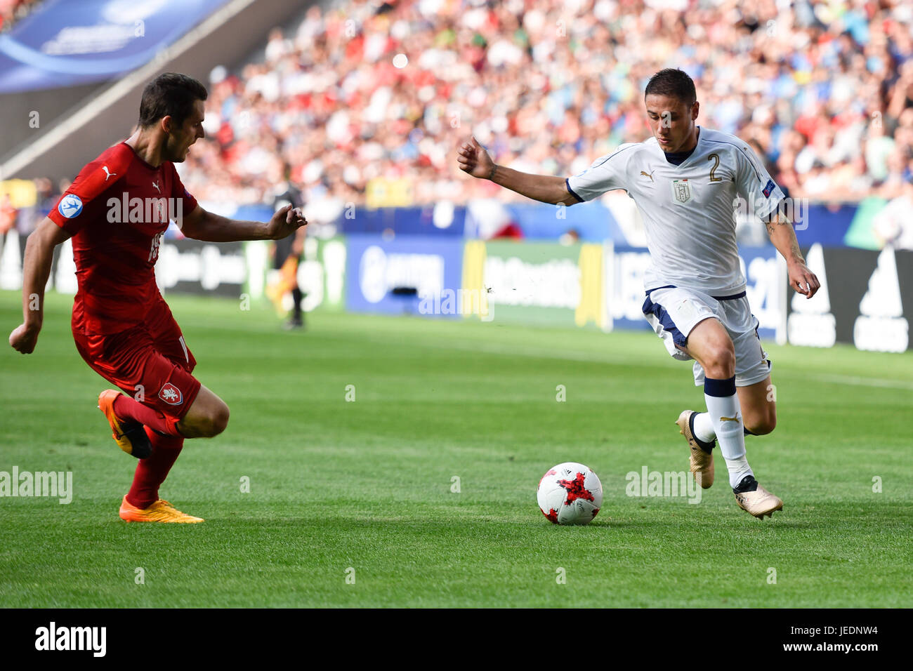 TYCHY, POLAND - JUNE 21, 2017: UEFA European Under-21 Championship  match group C between Czech Republic - Italy - Stock Image