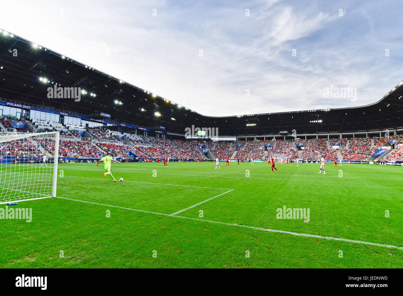 TYCHY, POLAND - JUNE 21, 2017: UEFA European Under-21 Championship  match group C between Czech Republic - Italy Stock Photo