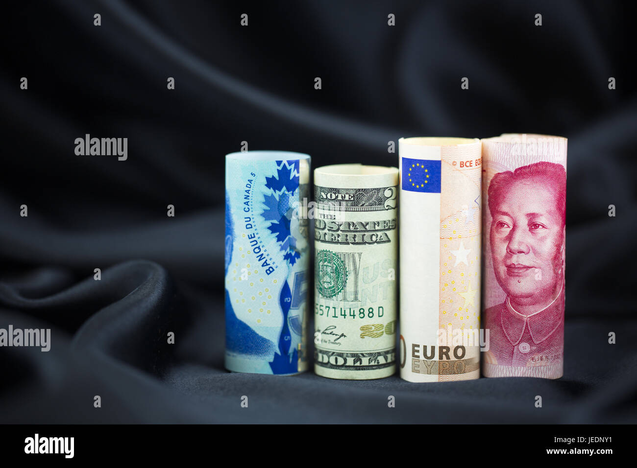 Need for portfolio diversity and worldwide investment seen in assortment of key, global currencies. - Stock Image