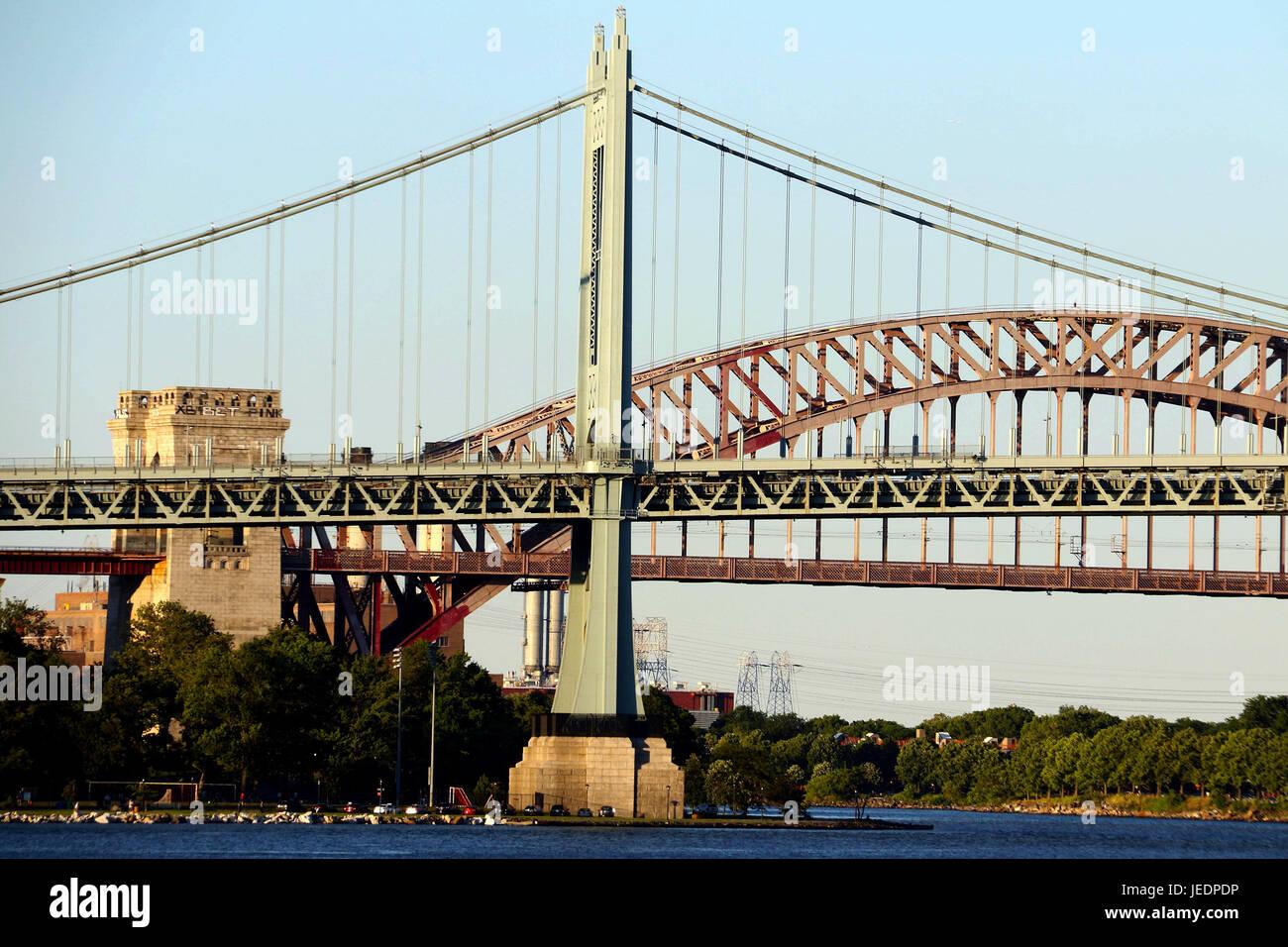 Robert F. Kennedy Bridge, also know as RFK Triborough Bridge, seen at sundown - Stock Image