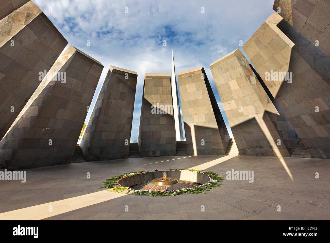 Genocide memorial in Yerevan, Armenia. - Stock Image