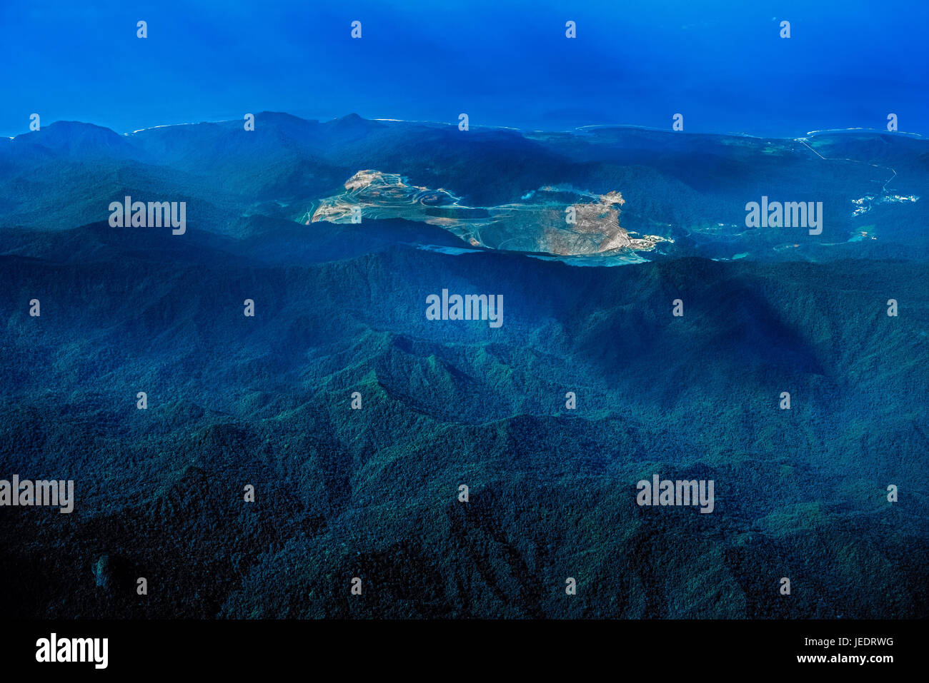 Batu Hijau mine, a gold and copper mine operated by Newmont Mining Corporation's subsidiary company, PT Newmont - Stock Image