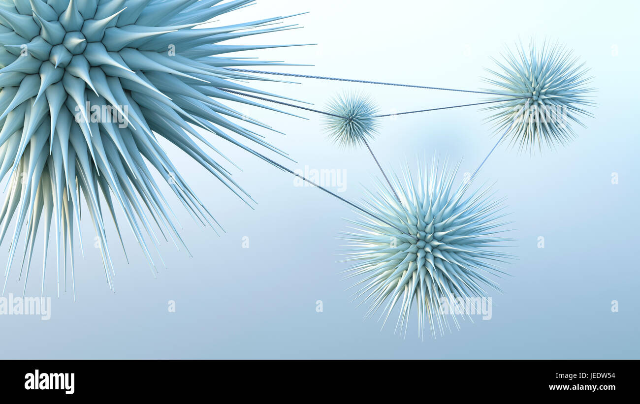 Connected spiky spheres, 3d rendering - Stock Image