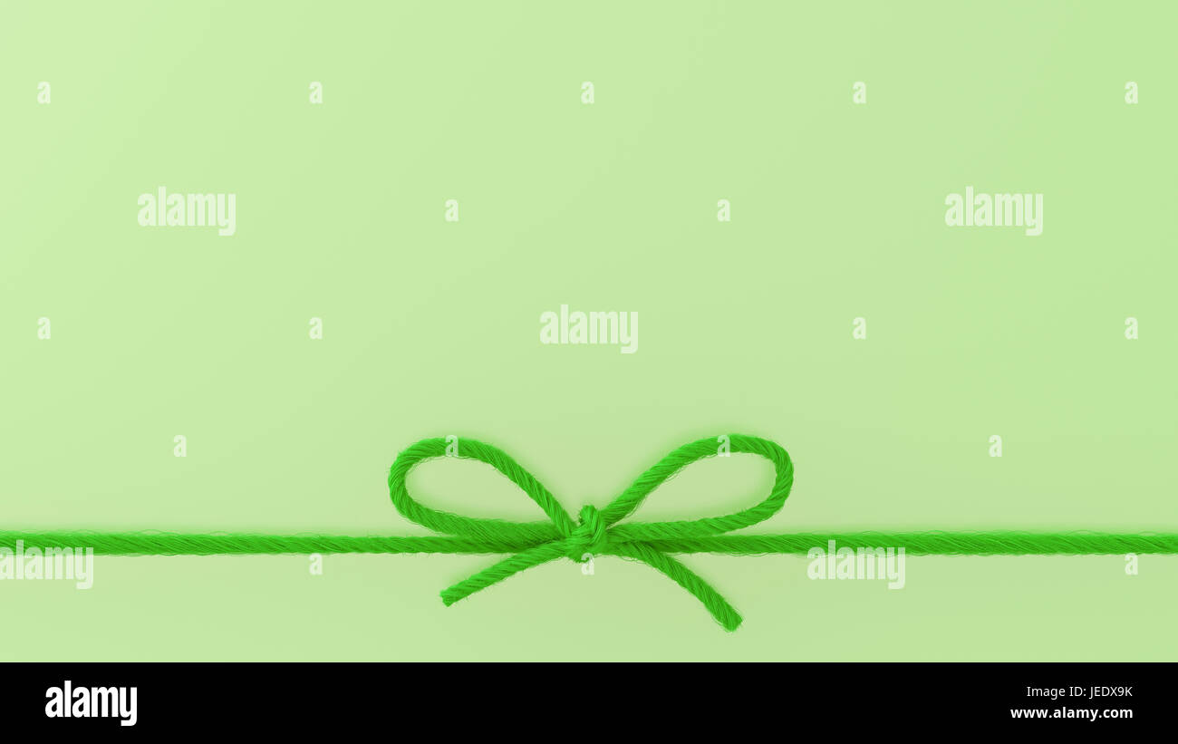 Green woolen bow, 3d rendering - Stock Image